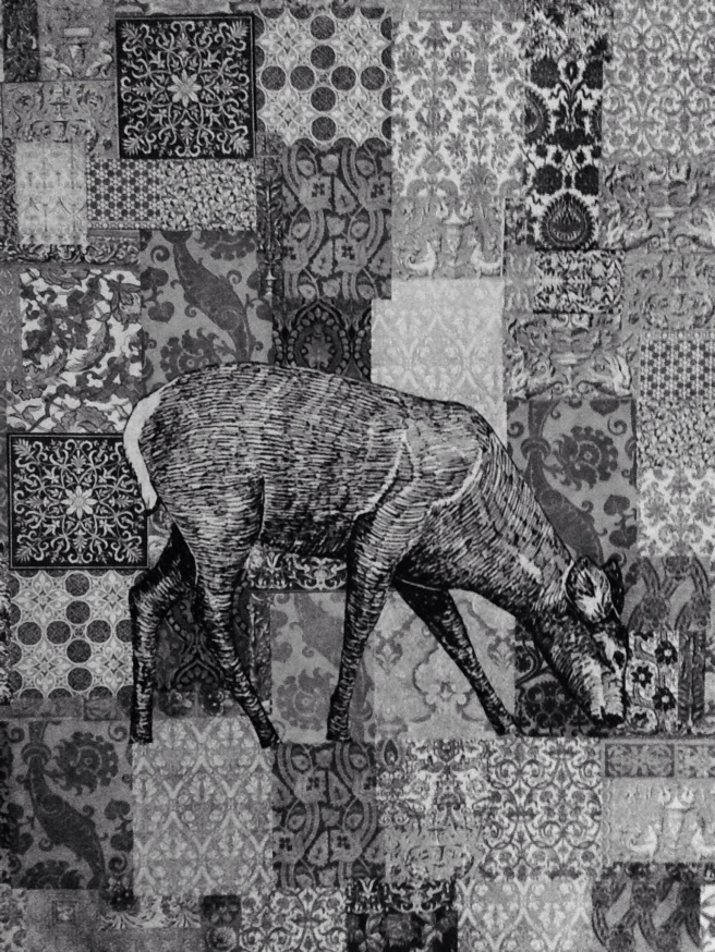 Decoupage Deer -- Large Canvas